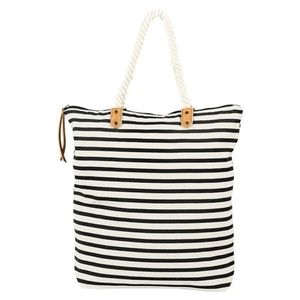 Blue and white stripped tote
